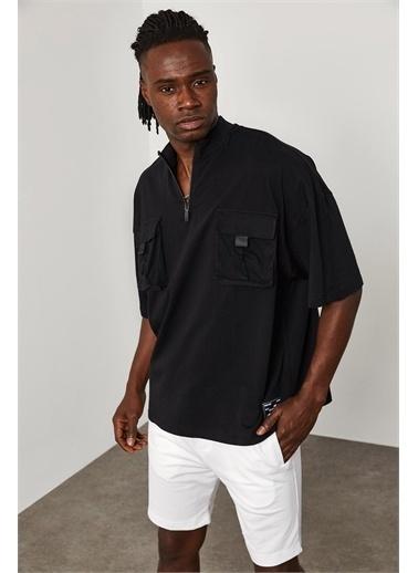 XHAN Fermuar Cep Detaylı Oversize T-Shirt 1YXE1-45085-02 Siyah